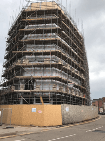 Recent Scaffolding work at Lee Circle Car Park, Leicester