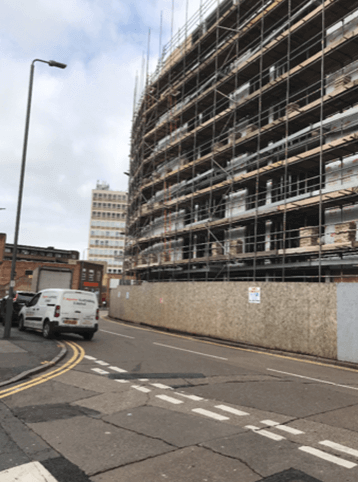Scaffolding hire at Lee Circle Car Park, Leicester