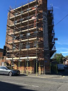 Scaffolding work on Banks Mill Studios In Derby